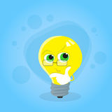 Light Yellow Bulb Think Hold Hand on Chin Look Up Stock Photography