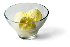 Light yellow Ice-cream balls in transparent glass. Over white background Stock Photos