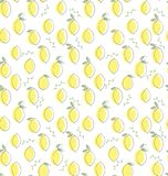 Cute Hand Drawn Abstract Lemon Vector Pattern. White Background. Lemons With Green Leaves and Twigs. Light yellow lemons with delicate grey sketch and green stock illustration