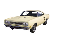 Light yellow muscle car Royalty Free Stock Image
