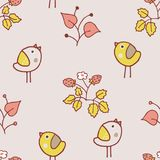 Light and yellow pastel birdy pattern. Cute kids vector pattern with birds and strawberry and different garden plants. Good for background, printing and textile Stock Photos