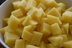 Light Yellow Potato Cubes Chops stock images