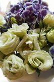 Light yellow Roses and Violet Orchids flower Royalty Free Stock Image