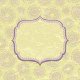 Light Yellow Vintage Card with Violet Decor Stock Images