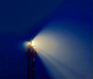 Lightbeam. And dust in the night Stock Photo