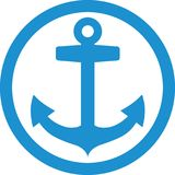 Lightblue Anchor in circle. Vector Royalty Free Stock Images