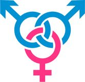 Lightblue and pink bisexual sign Royalty Free Stock Image
