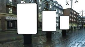 lightbox drei auf Abendstraße stock abbildung