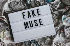 Lightbox with fake muse phrase Stock Photo