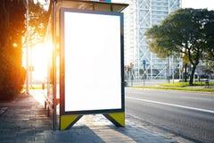 Lightbox vide sur l'arrêt d'autobus horizontal Photos libres de droits