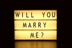 Will You Marry Me. Lightbox with words Will You Marry Me royalty free stock photo