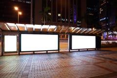 Lightboxes della pubblicità degli ambiti di provenienza dello streetscape della città della notte s Fotografia Stock