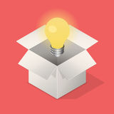 Lightbulb στο κιβώτιο Στοκ εικόνες με δικαίωμα ελεύθερης χρήσης