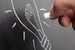 lightbulb идеи chalkboard Стоковая Фотография