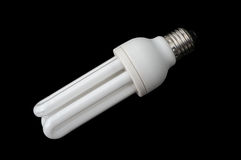 Lightbulb. Isolated lightbulb on black background with clipping path Stock Photos