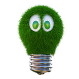 Lightbulb. Bulb growing out of it with grass. 3d character with funny eyes. isolated on white Stock Photography