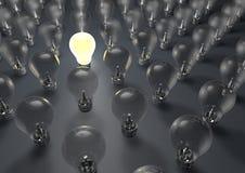 Lightbulb. 3d render of one lightbulb switched on vector illustration