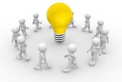Lightbulb. 3d people - men, person and a lightbulb stock illustration