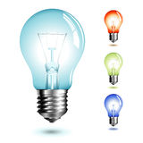 Lightbulb. Realistic illustration of a lightbulb in different color-versions stock illustration
