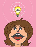 Lightbulb Above Head Woman Stock Photos