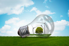 The lightbulb in alternative energy concept - 3d rendering Royalty Free Stock Photos