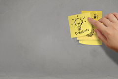 Lightbulb as creative on crumpled sticky note paper Stock Photos