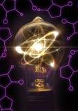 Lightbulb atomu cząsteczka zdjęcia royalty free