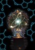 Lightbulb atomu cząsteczka obrazy royalty free