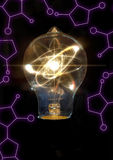 Lightbulb atomu cząsteczka zdjęcie stock