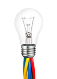 Lightbulb Attached to Colored Cables Isolated Royalty Free Stock Photos