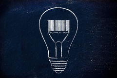Lightbulb with bar code as filament, metaphor of a profitable id Royalty Free Stock Image