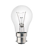 Lightbulb with Bayonet Fitting Isolated on White. Background. Photo of Ordinary Lightbulb Over White royalty free stock images