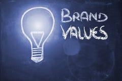 Lightbulb on blackboard, brand values & copyspace Stock Image