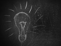 Lightbulb on a Blackboard Royalty Free Stock Photo