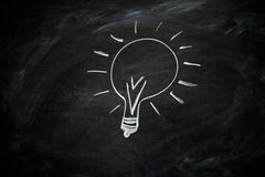 Lightbulb on a Blackboard Stock Photography