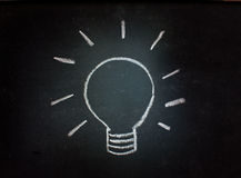 Lightbulb on a blackboard Stock Image