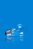 Lightbulb on blue background with reflection. Can be used as a symbol of finding new ideas or as energy saving conception Royalty Free Stock Photography