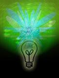 Lightbulb Bright Idea. Computer generated image concept. Light bulb illuminating creative light patterns vector illustration