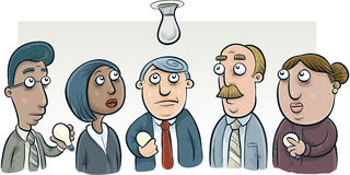 Lightbulb Change Committee. A group of cartoon people try to figure out how to change a lightbulb Stock Images