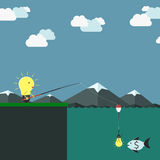 Lightbulb character fishing Royalty Free Stock Photo