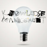 Lightbulb 3d and KNOWLEDGE MANEGEMENT Royalty Free Stock Photos