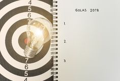 Lightbulb on dartboard. concept goal 2018 for new ideas. With innovation and creativity Royalty Free Stock Image