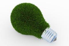 Lightbulb die van groen gras wordt gemaakt Stock Afbeelding