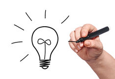 Lightbulb drawing Royalty Free Stock Photography
