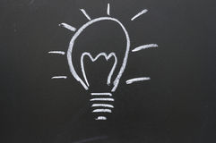 A lightbulb drawn on a chalkboard Stock Image