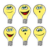 Lightbulb emotions, smile vector collection or set Stock Photography