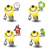 Lightbulb Energy Cartoons. An illustration featuring an assortment of lightbulb energy cartoons holding objects with themes involving time, environment, houses stock illustration