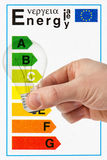 Lightbulb and energy efficiency categories. Hand with lightbulb on the background of energy efficiency categories stock photo