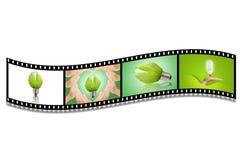 Lightbulb in filmstrip Stock Images