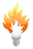 Lightbulb on fire Stock Images